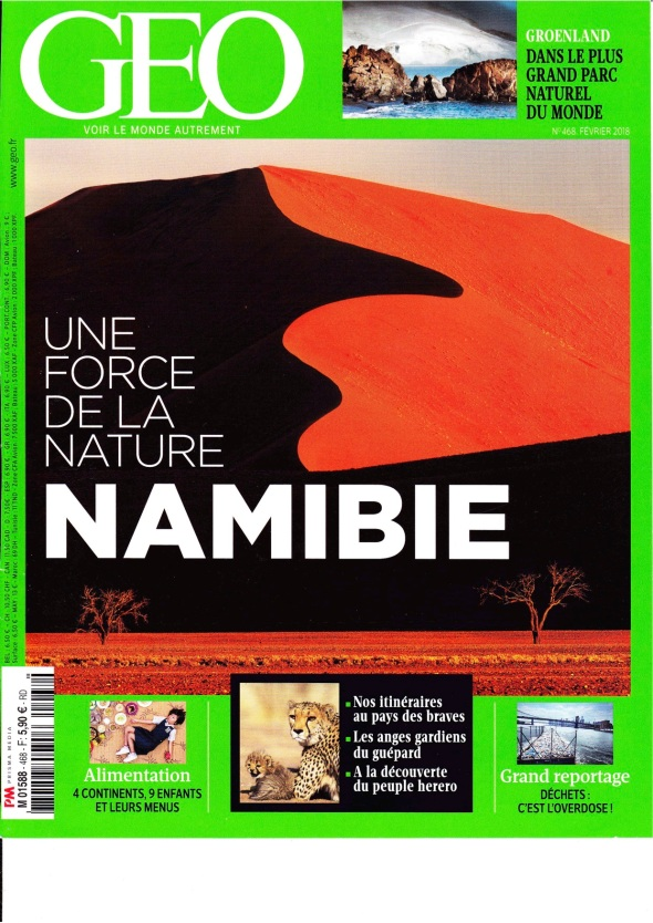 Namibie and CCF FRENCH GEO FEVRIER 2018 N°468